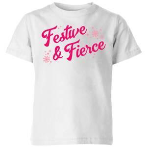 Snowy Festive & Fierce Kids' T-Shirt - White