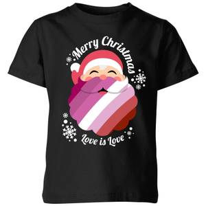 LGBTQ+ Lesbian Christmas Love Kids' T-Shirt - Black