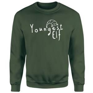 Youngest Christmas Elf Sweatshirt - Green