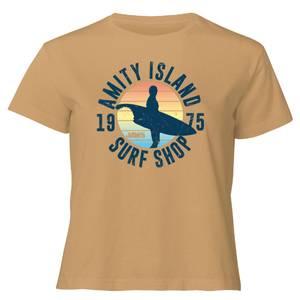 Jaws Amity Surf Shop Women's Cropped T-Shirt - Tan
