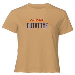 Back to the Future Outatime Plate Women's Cropped T-Shirt - Tan
