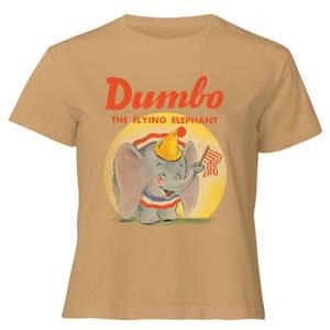 Dumbo Flying Elephant Women's Cropped T-Shirt - Tan