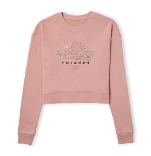 Friends Love Laughter Women's Cropped Sweatshirt - Dusty Pink