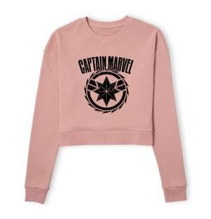 Captain Marvel Logo Women's Cropped Sweatshirt - Dusty Pink