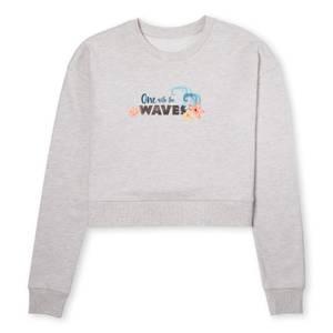 Moana One With The Waves Women's Cropped Sweatshirt - Ecru Marl