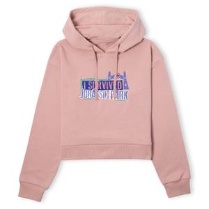 Jurassic Park I Survived Jurassic Park Women's Cropped Hoodie - Dusty Pink