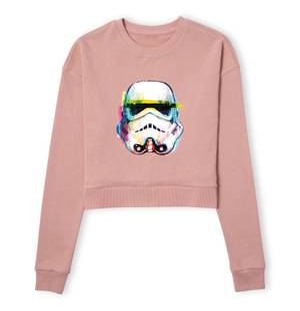 Star Wars Stormtrooper Paintbrush Women's Cropped Sweatshirt - Dusty Pink