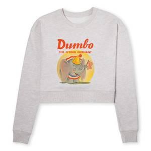 Dumbo Flying Elephant Women's Cropped Sweatshirt - Ecru Marl