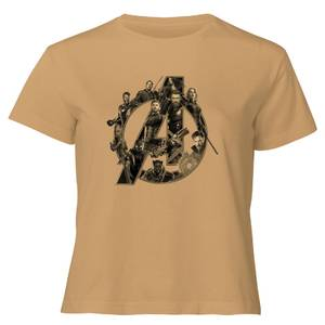 Marvel Avengers Logo Women's Cropped T-Shirt - Tan