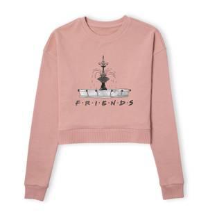 Friends Fountain Sketch Women's Cropped Sweatshirt - Dusty Pink