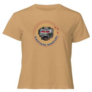 Captain Marvel Pager Women's Cropped T-Shirt - Tan