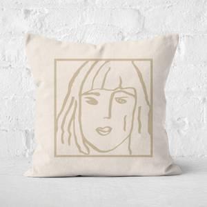 Female Face Square Cushion