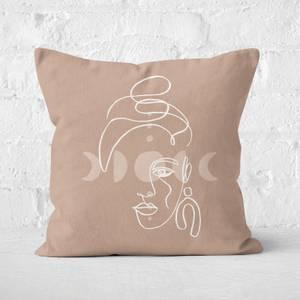 Boho Face Earrings Moonphases Square Cushion