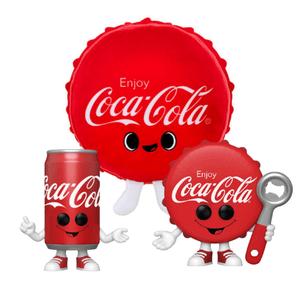 Coca Cola Bottle Cap Plush & Coca Cola Bottle Cap & Can Funko Pop! Vinyl Bundle