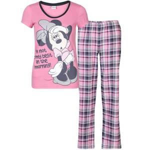 Minnie Mouse Women's Checked Pyjama Set - Pink