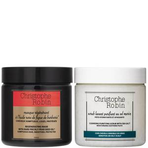 Christophe Robin Cleansing Purifying Sea Salt Scrub (250 ml) og Regenerating Mask med Rare Prickly Pear Seed Oil (250ml)