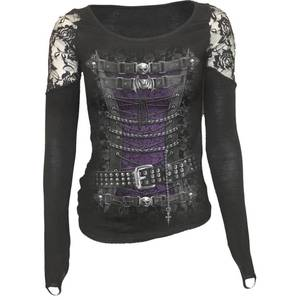 Spiral Women's WAISTED CORSET Shoulder Lace Top - Black