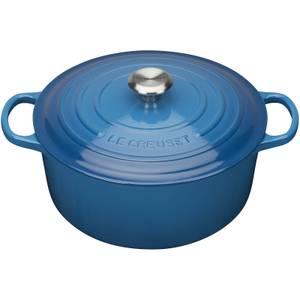 Le Creuset Signature Cast Iron Round Casserole Dish - 20cm - Marseille Blue