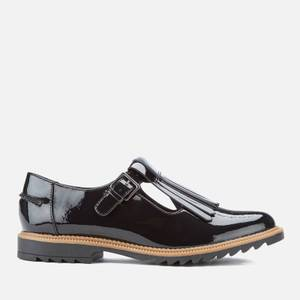 Clarks Women's Griffin Mia Patent Frill T Bar Shoes - Black