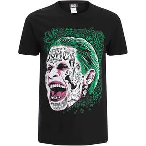 DC Comics Men's Suicide Squad Joker Head T-Shirt - Black