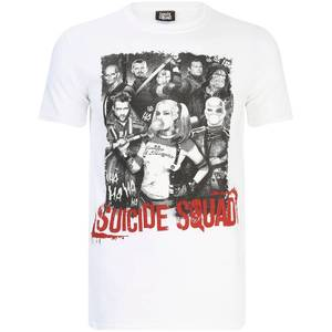 DC Comics Men's Suicide Squad Harley Quinn and Squad T-Shirt - White