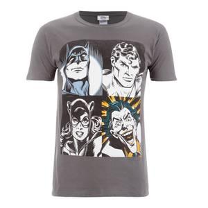 T-Shirt Homme DC Comics Batman Visage - Gris