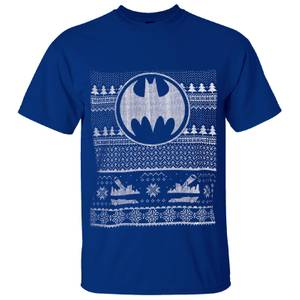 DC Comics Men's Batman Fairisle Christmas T-Shirt - Blue