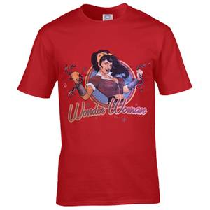 DC Comics Men's Bombshell Wonder Woman Logo T-Shirt - Red