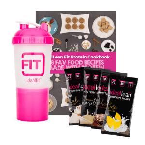 4 IdealLean Protein Packs + IdealFit Shaker Bottle + Protein Recipe Ebook Bundle