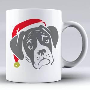 Boxer mit Santa Hut Keramik Tasse