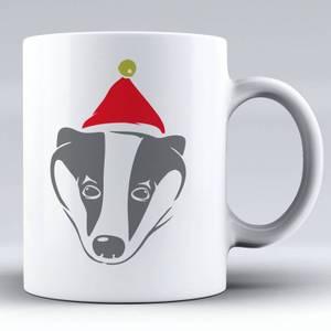 Badger with Santa Hat Ceramic Mug