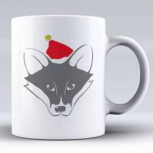 Fuchs mit Santa Hut Keramik Tasse