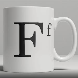 Alphabet Keramik Designer Tasse - Buchstabe F