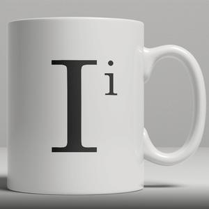 Alphabet Keramik Designer Tasse - Buchstabe I