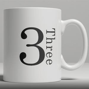 Alphabet Keramik Designer Tasse - Nummer 3
