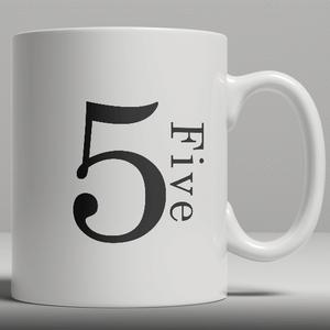 Alphabet Keramik Designer Tasse - Nummer 5