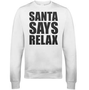 """Sudadera Navidad """"Santa Says Relax"""" - Hombre/Mujer - Blanco"""