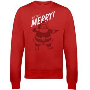 """Sudadera Navidad """"Let's Get Merry!"""" - Hombre/Mujer - Rojo"""