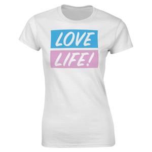 Valentines Frauen Love Life T-Shirt - Weiß