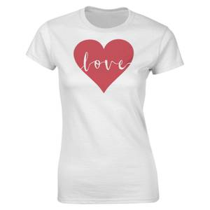 Valentines Frauen Love Heart T-Shirt - Weiß