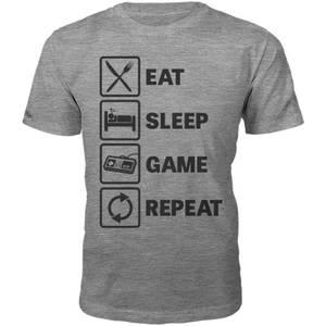 Männer Eat Sleep Game Repeat T-Shirt - Grau