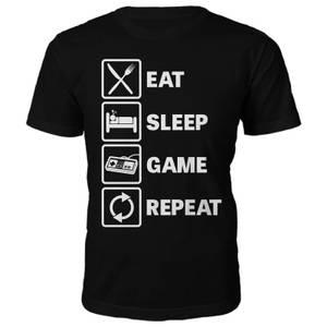 Männer Eat Sleep Game Repeat T-Shirt - Schwarz