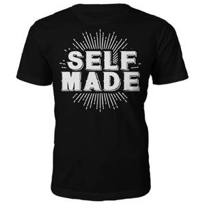 Self Made Slogan T-Shirt - Black