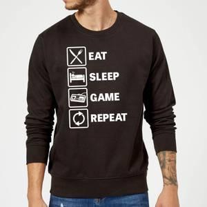 Eat Sleep Game Repeat Slogan Sweatshirt - Schwarz
