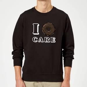 I Donut Care Slogan Sweatshirt - Black