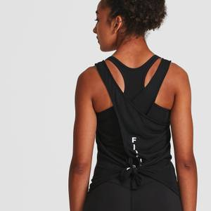 IdealFit Open Back Vest Tank Top - Black