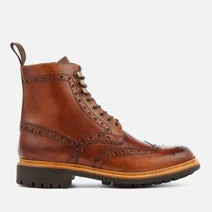 Grenson Men's Fred Hand Painted Leather Commando Sole Lace Up Boots - Tan