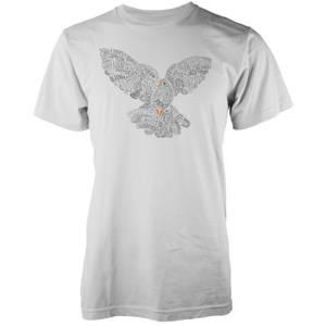 Vo Maria Typographic Peace Dove Men's White T-Shirt