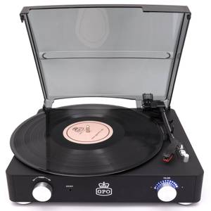 GPO Retro Stylo 2 Rubberised Finish Turntable - Black