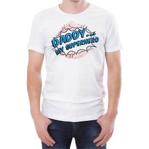 Daddy My Superhero Men's White T-Shirt